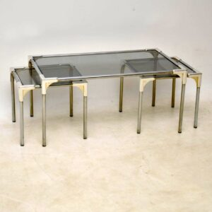 vintage chrome nesting coffee table / side tables