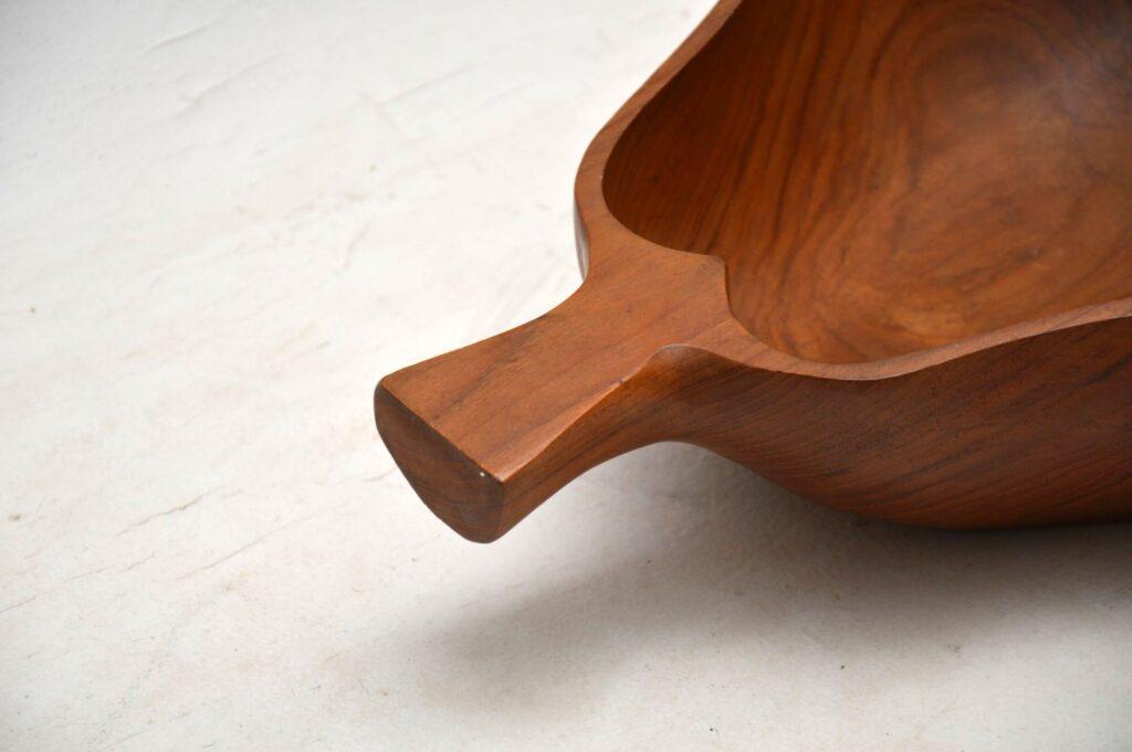vintage solid carved wood fruit bowl