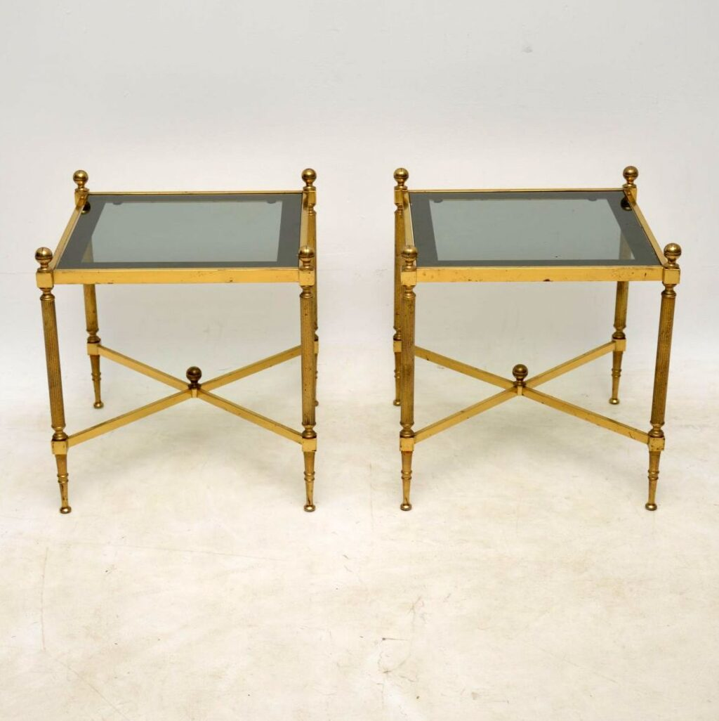 vintage french brass side tables