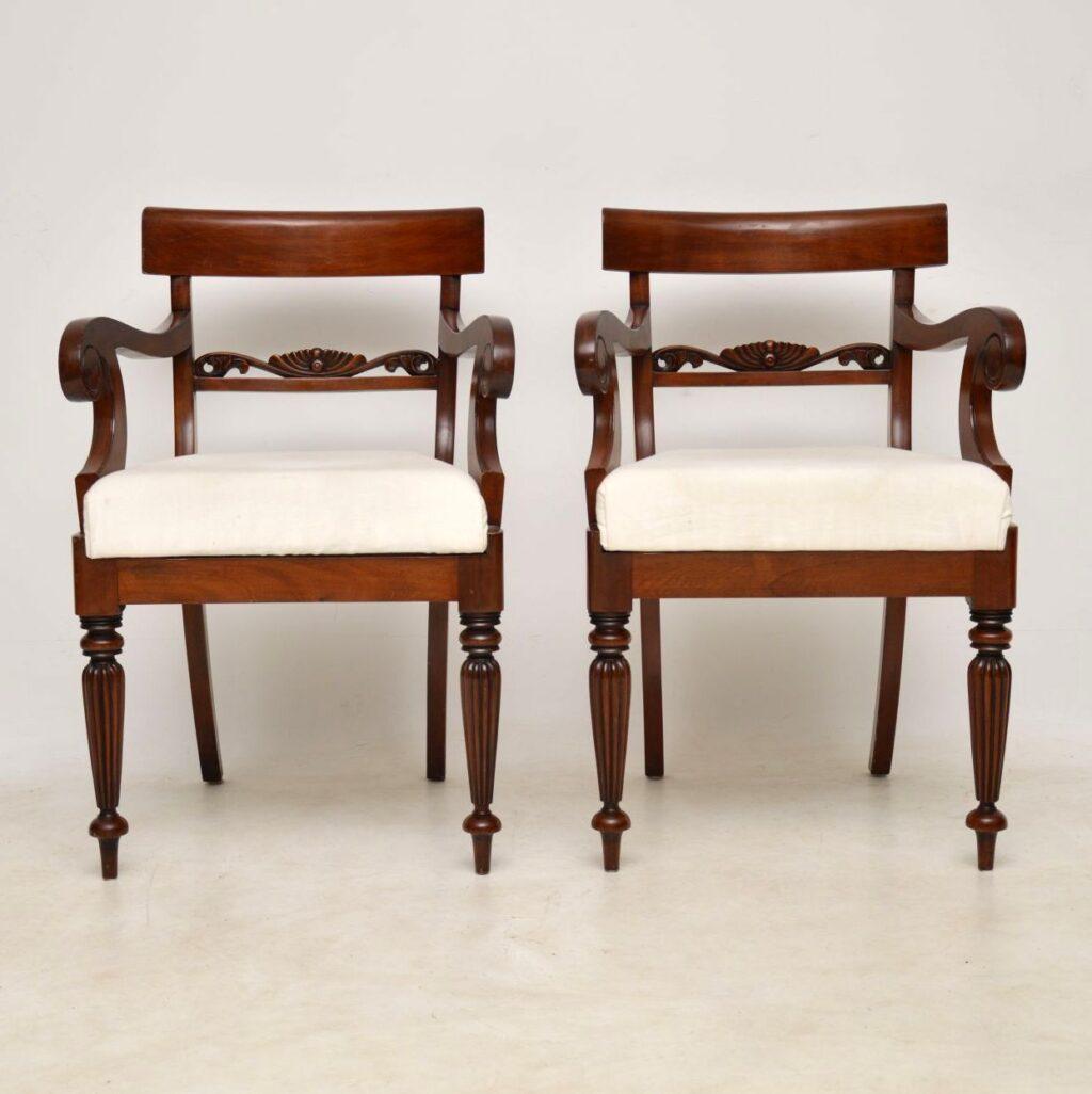 antique mahogany regency armchairs