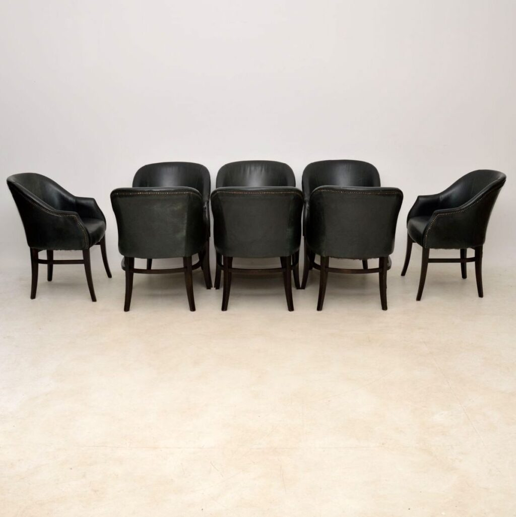 vintage leather dining chairs