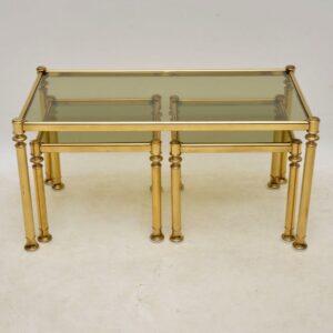 vintage brass nesting coffee table