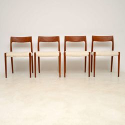 1960's Set of 4 Danish Teak Dining Chairs by Niels Moller