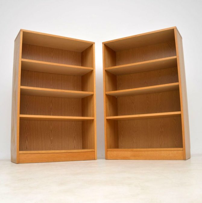 pair of danish vintage oak bookcase