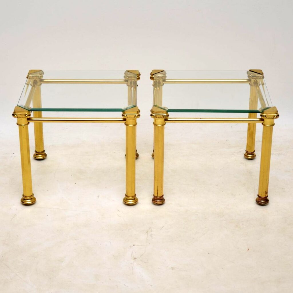 pair of vintage brass and glass side tables
