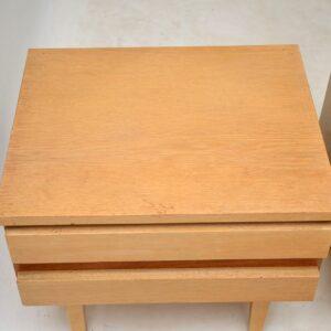 pair of vintage oak teak bedside chests cabinets