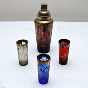 1920's Art Deco Coloured Glass Cocktail Shaker & Glasses