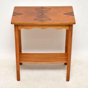 art deco walnut side table