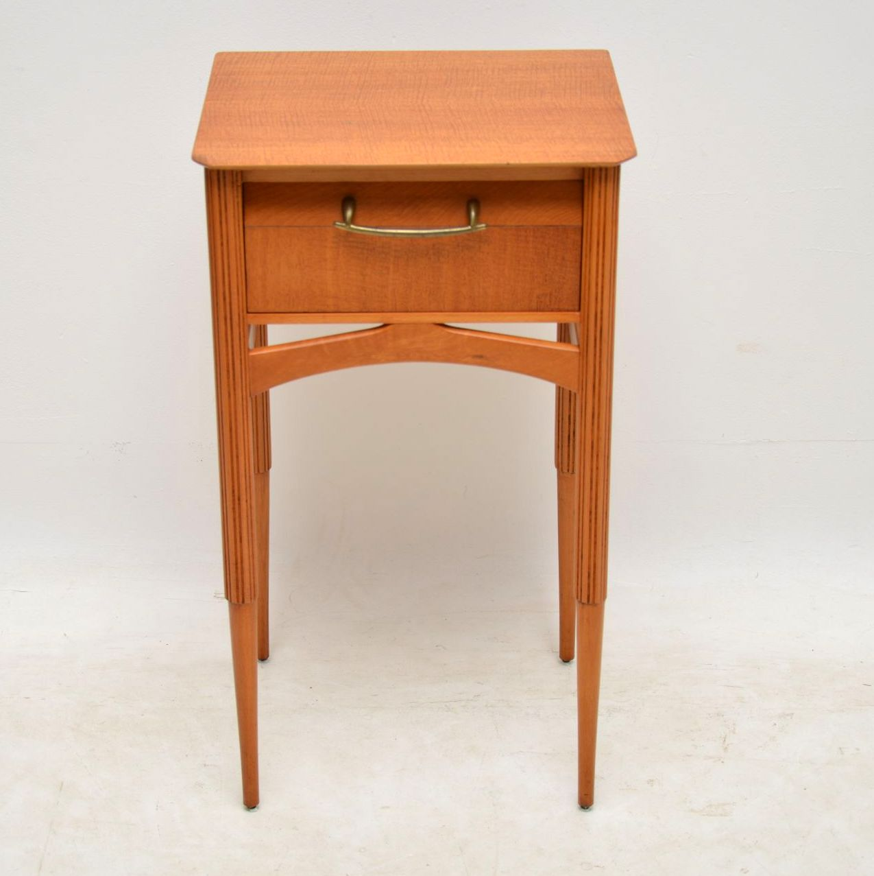 1950 S Vintage Satin Wood Bedside Table Lamp Table
