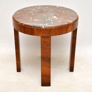 1920's Art Deco Walnut & Marble Coffee Table