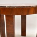 art deco walnut and marble coffee table