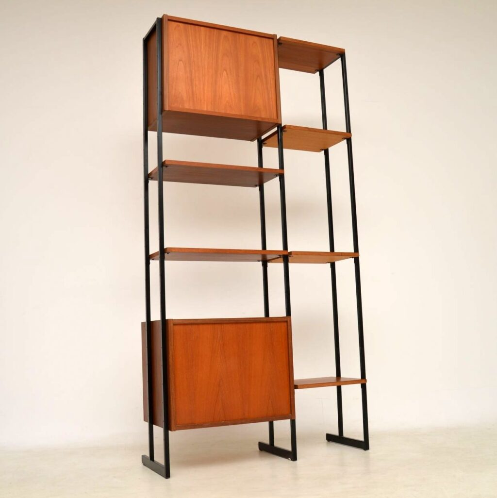 vintage teak ladderax midcentury bookcase cabinet wall unit room divider