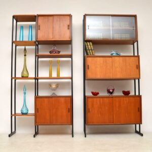 1960's Vintage Pair of Teak Wall Units / Room Divider Cabinets