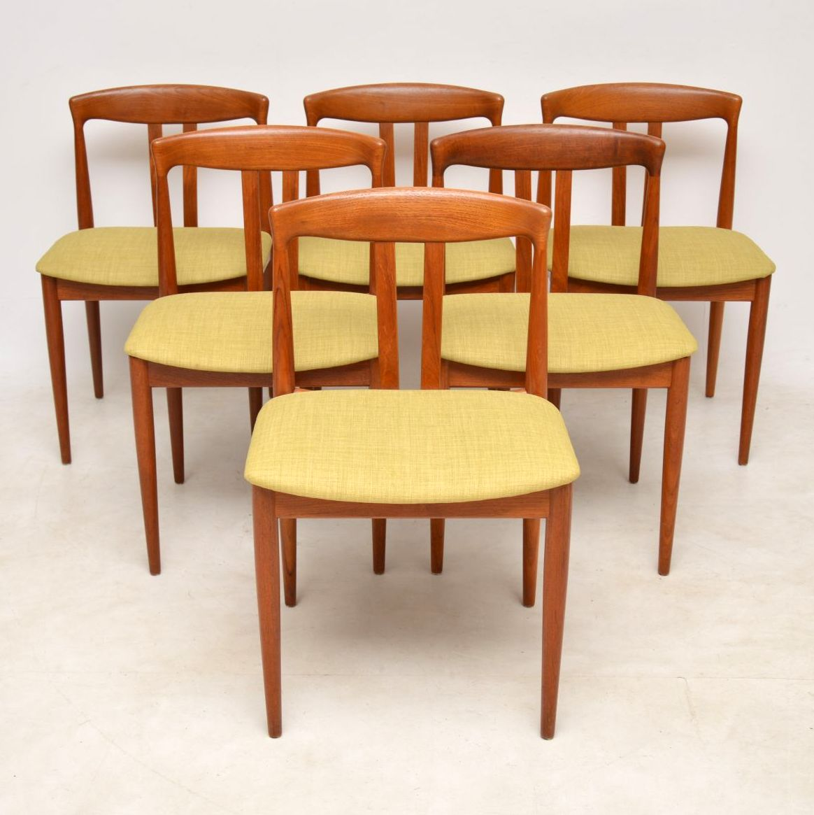 1960 S Vintage Set Of 6 Danish Teak Dining Chairs