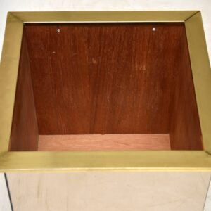 1970's Vintage Brass & Mirrored Glass Planter Box