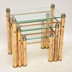 1970's Vintage Italian Brass & Glass Nest of Tables