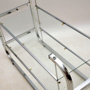 1970's Vintage Chrome Side Table / TV Stand