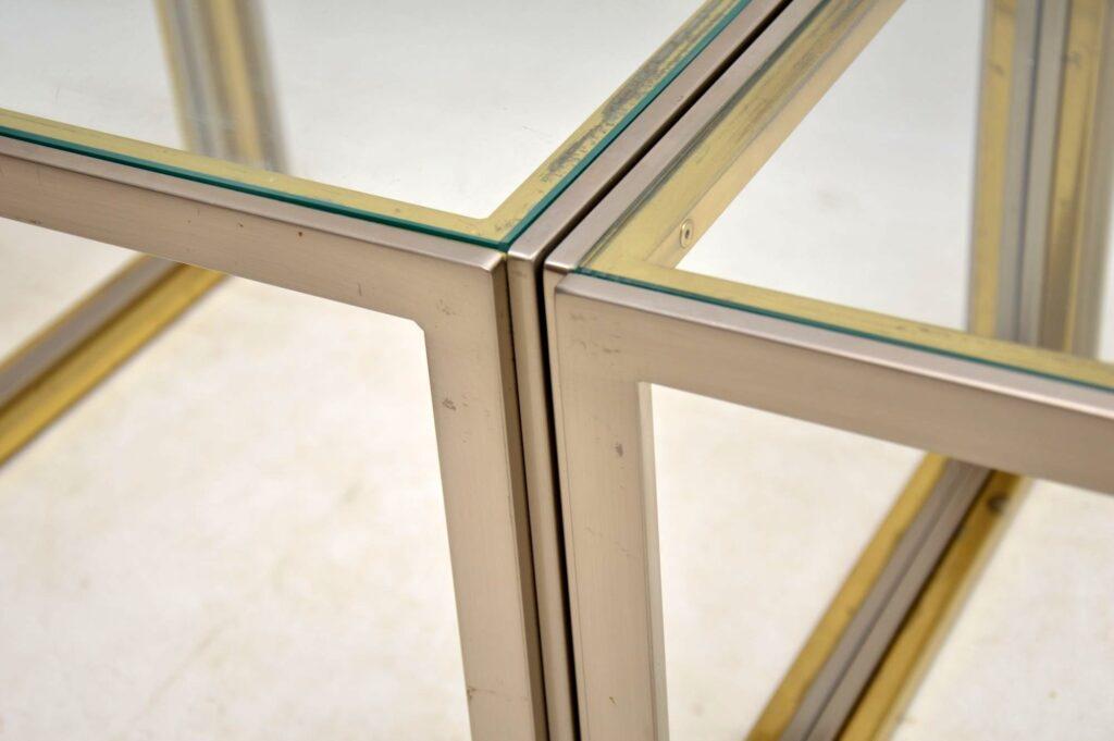 vintage italian steel brass side tables coffee table
