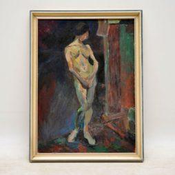 original vintage oil painting austin ruddy nude