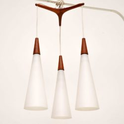 1960's Vintage Teak & Glass Pendant Lamp by Uno & Östen Kristiansson for Luxus