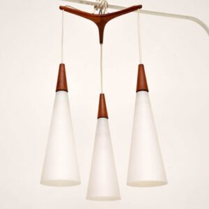 vintage teak swedish pendant light chandelier by uno and osten kristiansson