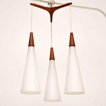 1960's Vintage Teak & Glass Pendant Lamp by Uno & Östen Kristiansson for Luxus