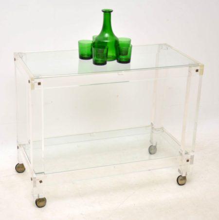 1970's Vintage Acrylic & Glass Drinks Trolley