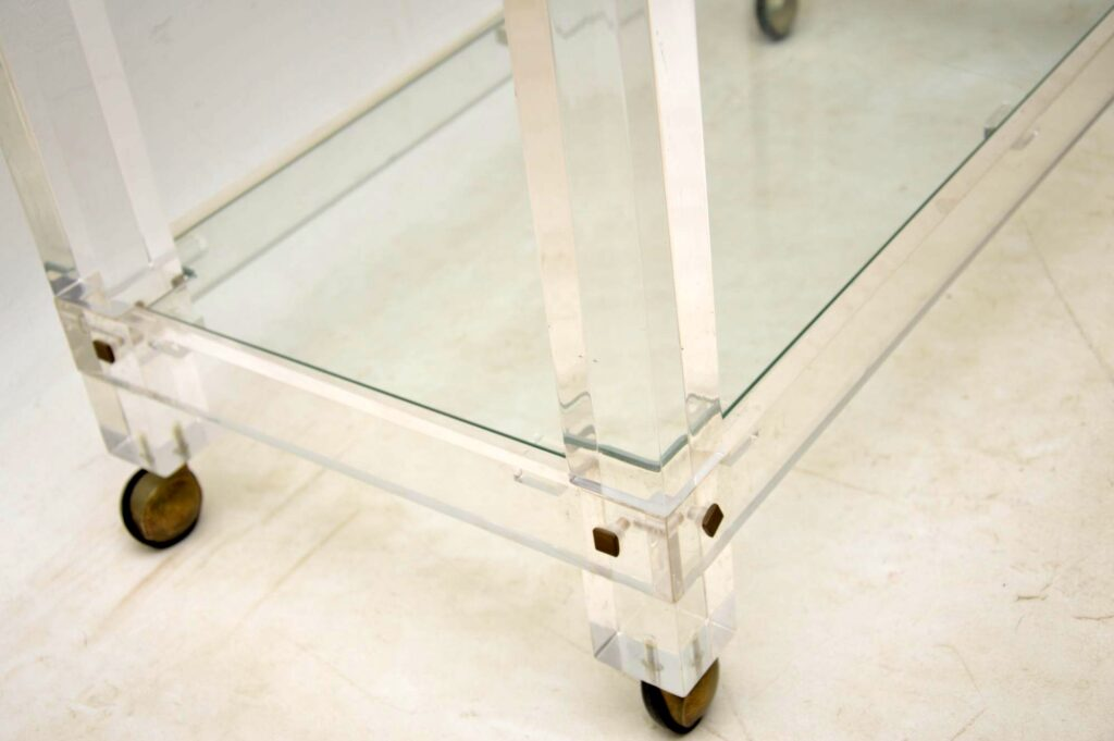 vintage italian lucite glass drinks trolley
