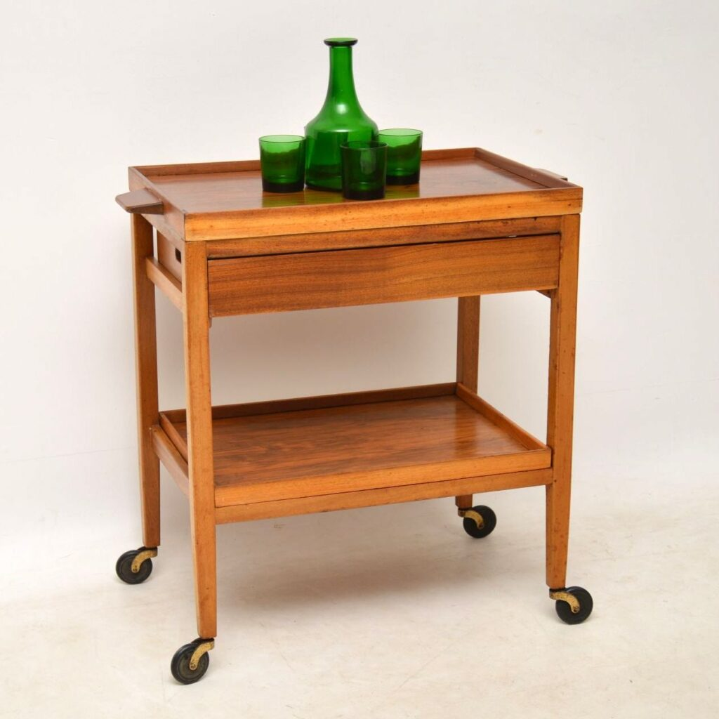 vintage walnut drinks trolley