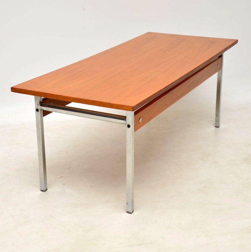 vintage teak and chrome coffee table