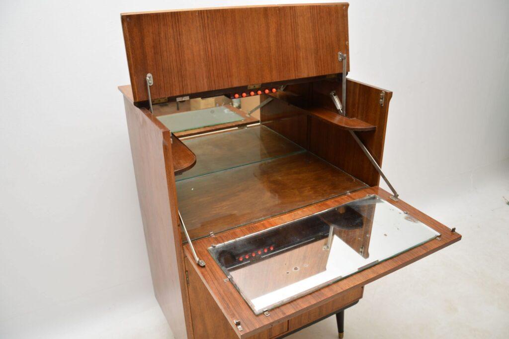 vintage walnut drinks cabinet