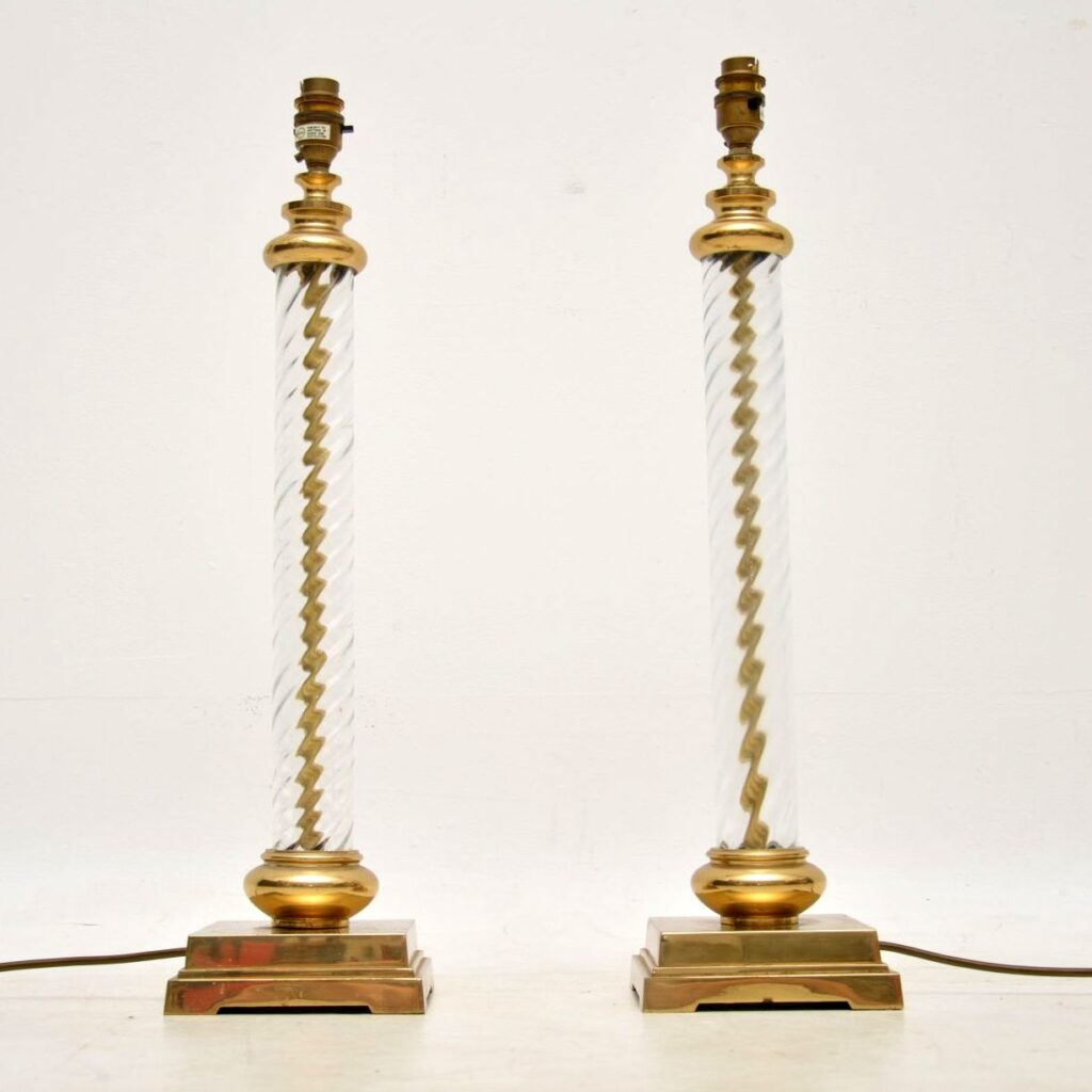 pair of antique vintage glass brass lamps
