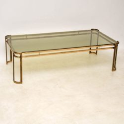 1960's Vintage Brass & Glass Coffee Table