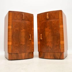 1920's Pair of Walnut Art Deco Bedside Cabinets