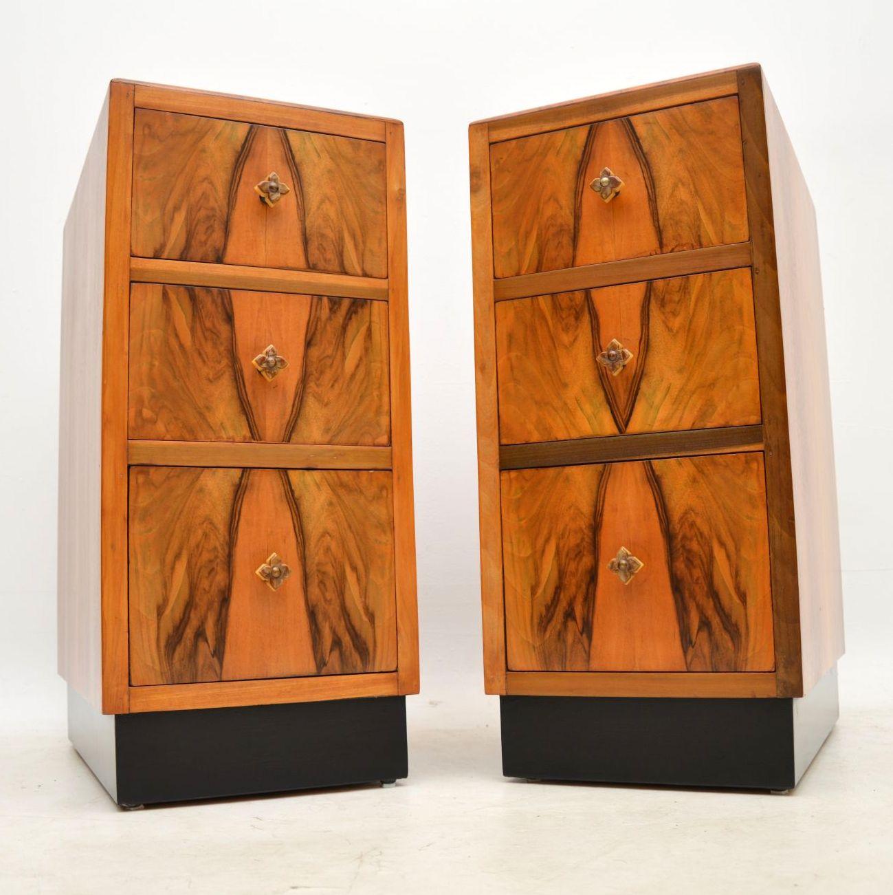 1920 S Pair Of Figured Walnut Art Deco Bedside Cabinets