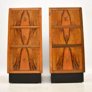 1920's Pair of Figured Walnut Art Deco Bedside Cabinets