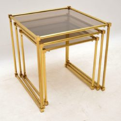 1970's Italian Vintage Brass Nest of Tables