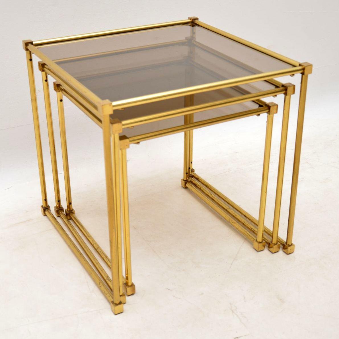 vintage italian brass nest of tables