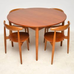 vintage danish teak dining chairs table by hans wegner fritz hansen