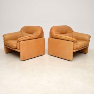 pair of vintage leather armchairs de sede ds16