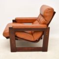 1960's Vintage Pair of Danish Rosewood & Leather Armchairs
