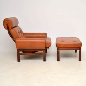 1960's Vintage Danish Rosewood & Leather Armchair with Stool