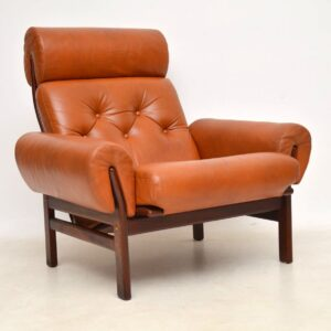 danish vintage leather armchair and stool