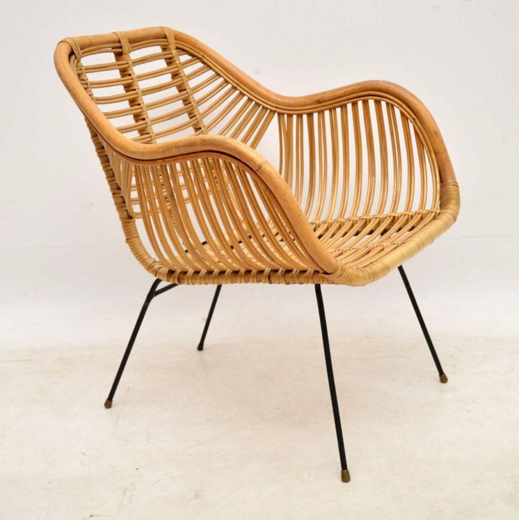 rattan and steel vintage danish armchair