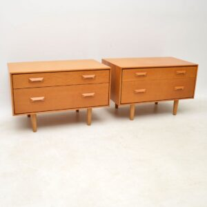 pair of vintage oak bedside chests stag john and sylvia reid