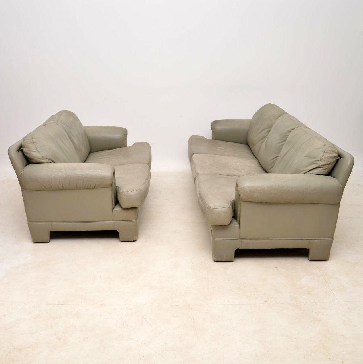 pair of vintage leather tetrad sofas sofa
