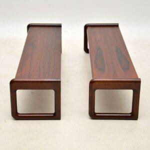 1960's Vintage Pair of Danish Rosewood Hanging Bookshelves