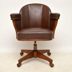 danish teak leather desk chair