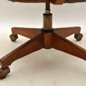1960's Vintage Danish Leather & Teak Desk Chair