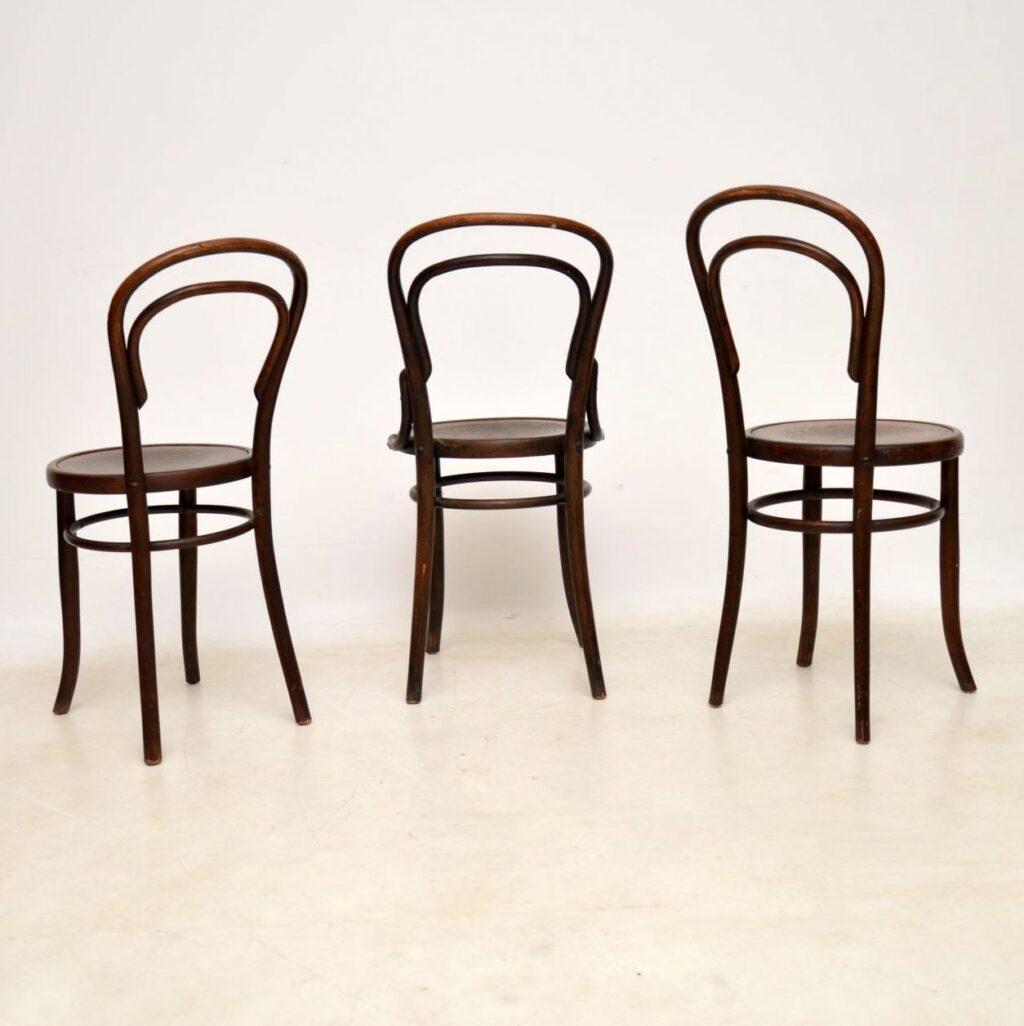 set of three antique bentwood thonet fischel chairs